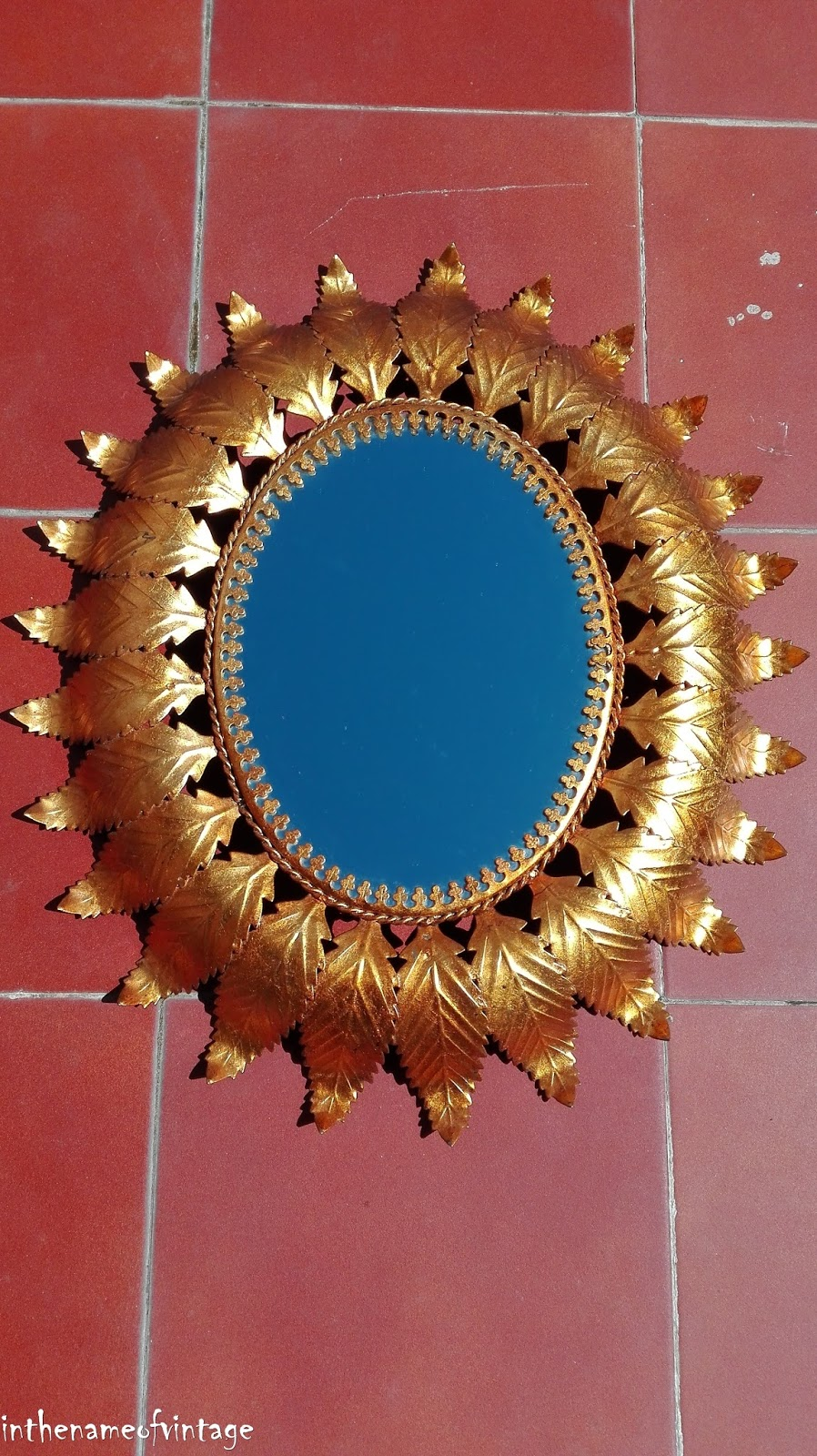 Espejo sol ovalado metal dorado vintage antiguo for Espejo ovalado